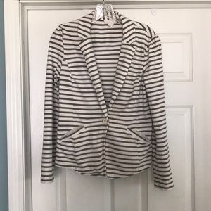 Caslon white and gray striped jacket size M